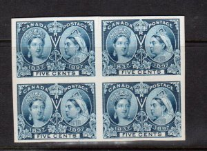 Canada #54P Extra fine Proof Block India On Card - Tiny Cut In Margin