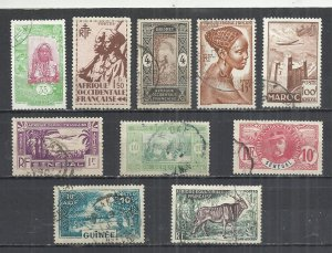 FRENCH COLONIES - LOT OF 10 DIFFERENT  3 - POSTALLY USED