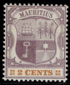 MAURITIUS QV SG128, 2c dull purple & orange, LH MINT.