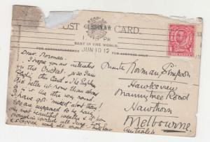 ADEN, 1914 ppc. Ceylon, GB 1d. ADEN PAQUEBOT to Australia.