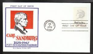U.S. 1731 Carl Sandburg 1978 Jack Davis U/A FDC