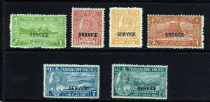 TRAVANCORE INDIA 1939 OFFICIAL Ovptd 27th Birthday Set SG O87a to SG O93 MINT