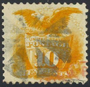 116, Used 10c XF+ RED & BLACK CANCELS - BEAUTY!