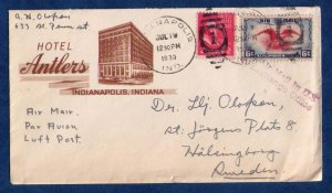 19.7.1939 US Cachet Cover SC #C23 SC #806 Hotel Antlers,Indianapolis,Indiana