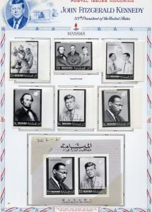 MANAMA JOHN  F KENNEDY ABE  LINCOLN  &  MARTIN L KING JR IMPERF SET & S/S HINGED