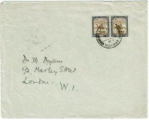 Sudan 1926 Khartoum Makwar TPO cancel on cover to England, used 10 years