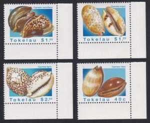 Tokelau Sea Shells 4v Corners with margins SG#250-253 SC#232-235