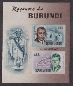 Burundi # B27, John F. Kennedy Memorial Imperf Souvenir Sheet, NH 1/2 Cat.