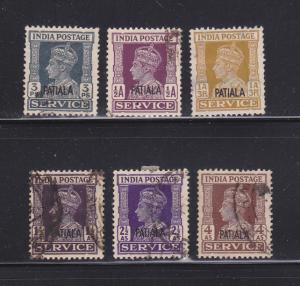 India Patiala O63, O65, O68-O69, O71-O72 U King George VI