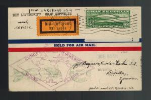 1930 USA Graf Zeppelin postcard cover Around the World to Seville Spain # C13