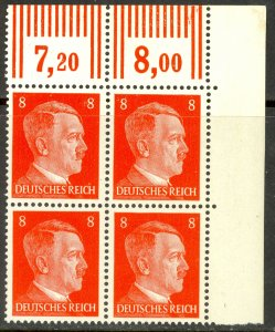 GERMANY 1941-44 8pf Hitler Head BLOCK OF 4 Sc 511 MNH