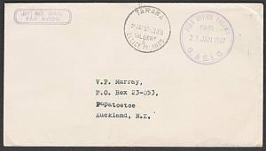 GILBERT & ELLICE IS 1967 cover to NZ - POST OFFICE TARAWA PAID cds.........55433