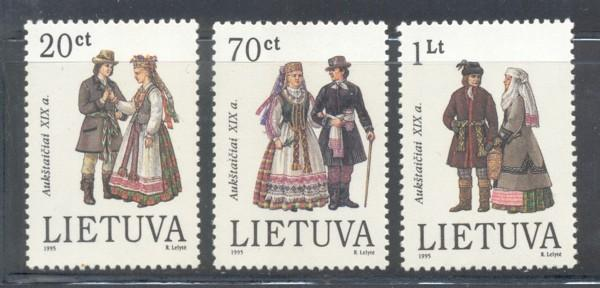 Lithuania Sc 511-13 1995 Folk Costumes stamp set mint NH