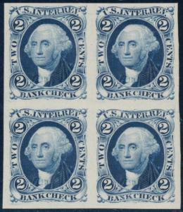 #R5P4 BLOCK OF 4 2¢ BANK CHECK (BLUE) PLATE PROOF ON CARD CV $140.00 BQ7873