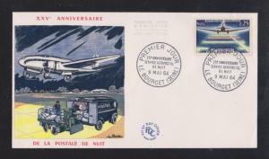 1964 De La Postale De Nuit 25th Anniversary - Color Cachet Unaddressed FDC