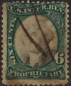 RB6a 6¢ Proprietary Stamp (1874) Used