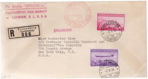 1936 Lichtenstein Hindenburg Zeppelin LZ 129 cover to USA # C15 C 16 comp set