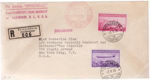 1936 Lichtenstein Hindenburg Zeppelin LZ 129 cover to USA # C15 C 16 comp set