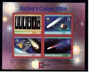 Montserrat 657 MNH 1987 Haleys Comet w/Capex overprint S/S