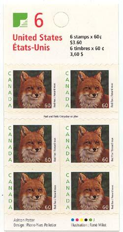 Canada - 2000 60c Red Fox Pane of Six Booklet #BK238a