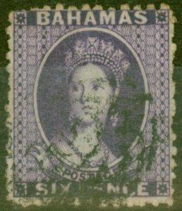 Bahamas 1863 6d Dp Violet SG31Y Wmk Inverted & Reversed Good Used Scarce