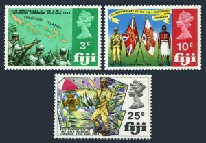 Fiji 277-279,MNH.Michel 249-251. WW II.Fiji Military Forces,25th Ann.Map,Flags,