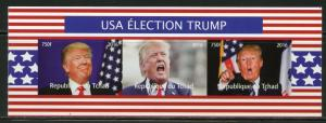 CHAD 2016 USA ELECTION DONALD TRUMP  SHEET OF THREE IMPERFORATE  MINT NH
