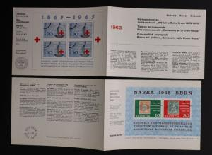 Swiss 1963 Red Cross 1965 NABRA FDC leaflet ad SS 545 428 B344 718 press sale DM