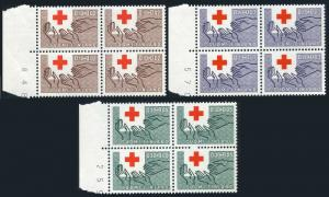 Finland B166-B168 blocks/4,MNH.Mi 570-572. Red Cross-1963.Outstretched hands.