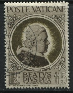 Vatican 1951 Pope Pius 115 lire used