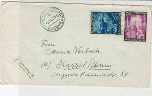 Vatican 1951 Buildings + Church Men Scene Stamps Cover to Germany Ref 29482