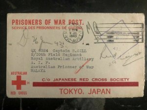 1943 Melbourne Australia To Malaya RedCross Japan POW Prisoner of War Camp Cover