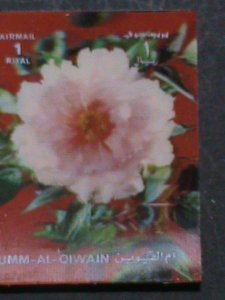 QIWAIN STAMP - LOVELY COLORFUL PINK FLOWERS- AIRMAIL- 3-D STAMP MNH #5
