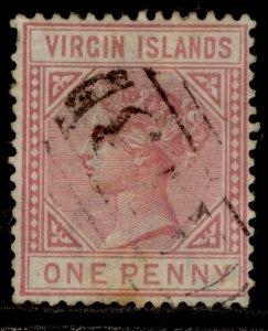 BRITISH VIRGIN ISLANDS QV SG29, 1d pale rose, USED. Cat £50.