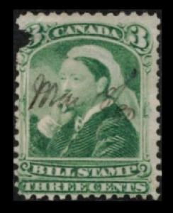 CANADA 1868 QUEEN VICTORIA 3c GREEN #FB40 THIRD BILL STAMP ISSUE, SEE SCAN