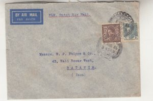IRAQ, 1935 Airmail cover, Basrah to Neth. East Indies, 5f., & 50f.