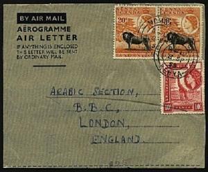 KENYA UGANDA TANGANYIKA 1955 formular airletter used Mombasa to London.....96496