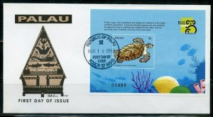 PALAU 1999 WORLD STAMP EXPO TURTLE SOUVENIR SHEET  FIRST DAY COVER