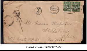 GREAT BRITAIN - 1921 envelope to U.S.A. with KGV STAMPS & ''DUE 4ce...