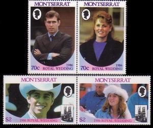Montserrat MNH 615-6 Pairs Royal Wedding Prince Andrew & Sarah SCV 1/70