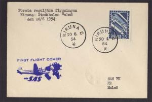 Sweden 1954 First flight Day Cover FFC