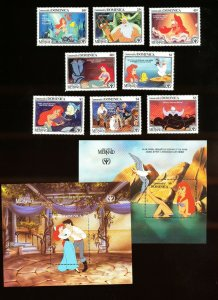 DOMINICA - Scott 1348-1357  VFMNH - DISNEY - Little Mermaid, ILY - 1991