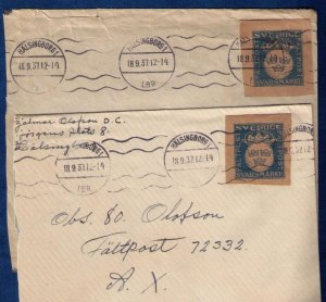 Sweden (1937) Michel #M1 Set Two Postal Covers With Miliary Stamps issued 1929