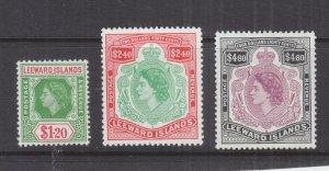 LEEWARD ISLANDS, 1954 QE $ 1.20, $ 2.40 & $ 4.80, lhm.