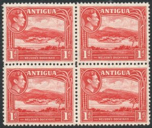 ANTIGUA-1938-51 1d Scarlet Block of 4 Sg 99 UNMOUNTED MINT V38046