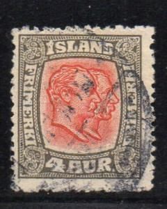 Iceland Sc 101 1915 4 aur gray & red perf 14 2 Kings stamp used