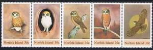 1984 Norfolk Island Scott 343 Boobook Owl Strip of 5 MNH