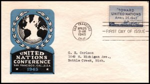 US 926 United Nations Ioor Typed FDC