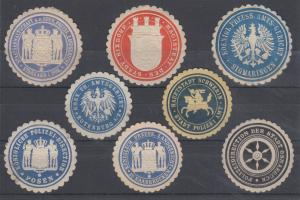 Germany, 8 embossed Municipal & State Seals, VF appearing