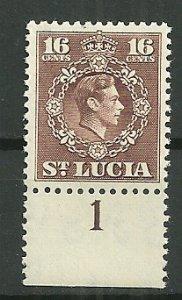 1949 St. Lucia #143  16c KGVI MNH